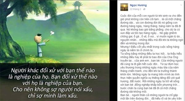 Dòng chia sẻ của mẹ Hồ Ngọc Hà đăng tải trên trang cá nhân hôm 22/2.