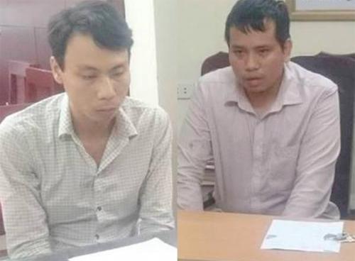 Trần Ngọc Linh (bên trái) và Nguyễn Minh Trường tại cơ quan công an.