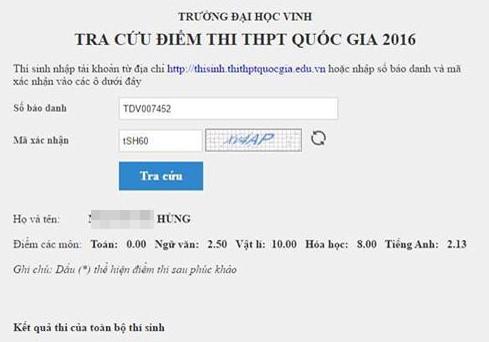 Điểm thi của thí sinh Hùng.