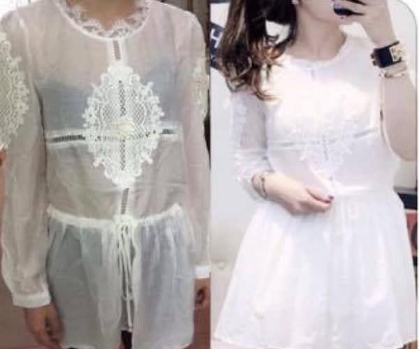 Đây là chiếc váy trong câu chuyện. Không cần chú thích chắc bạn cũng biết cái bên trái là hàng mà khách nhận được, còn cái bên phải là ảnh của shop, đúng không?
