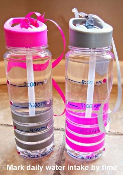 Đánh dấu mực nước cần uống mỗi giờ trong ngày