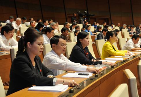 ĐBQH biểu quyết tại Hội trường Ảnh: Quang Khánh