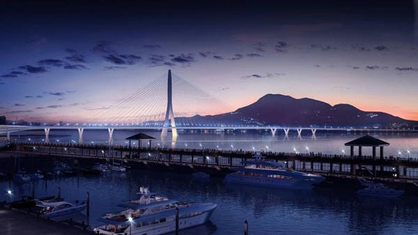 Cầu Đan Dương tại Đài Bắc, Đài Loan, chỉ dài hơn 914 m, là một trong những công trình cuối cùng từng đoạt giải thưởng của cố kiến trúc sư Zaha Hadid. Được khánh thành năm 2011, đây là cầu dây văng bất đối xứng một cột trụ dài nhất thế giới, theo công ty kiến trúc Zaha Hadid. Cây cầu được thiết kế khéo léo để không che khuất cảnh hoàng hôn trên đảo Đài Loan.