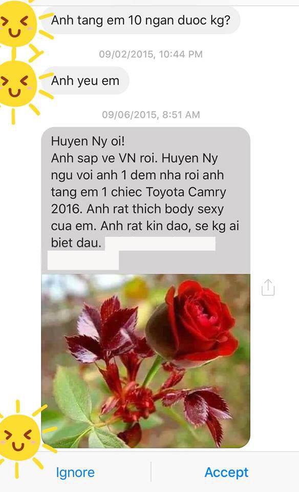 Hình ảnh tin nhắn được Huyền Ny chụp lại.