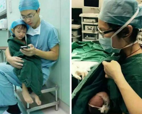 Y bác sĩ giúp em bé nín khóc để ca phẫu thuật thành công. Ảnh: Sina.
