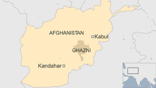 Vị trí tỉnh Ghazni, địa điểm xảy ra vụ tai nạn. Đồ họa: BBC