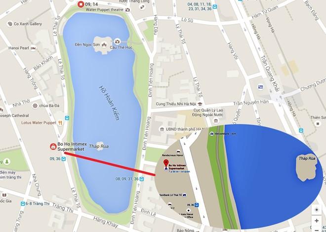 Vị trí xây khách sạn tại số 22-23 Lý Thái Tổ ngay sát Hồ Hoàn Kiếm, quận Hoàn Kiếm, Hà Nội. Nguồn: Công Khanh/GoogleMaps.