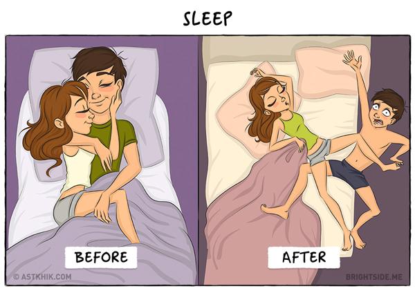 Chưa kết hôn, bạn thường được người yêu vỗ về, ôm ấp và cưng nựng khi ngủ, khi đã là vợ chồng, mạnh ai nấy ngủ. Những thói quen đi ngủ cũng từ đó lộ ra.