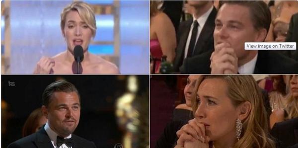 Trong lúc này, cư dân mạng bắt đầu so sánh hình ảnh tương đồng của 2 người khi đang ngồi ở hàng ghế khán giả. Leo cũng từng hi vọng bạn thân nhận giải bằng việc chắp tay cầu nguyện và đôi mắt đầy mong đợi.