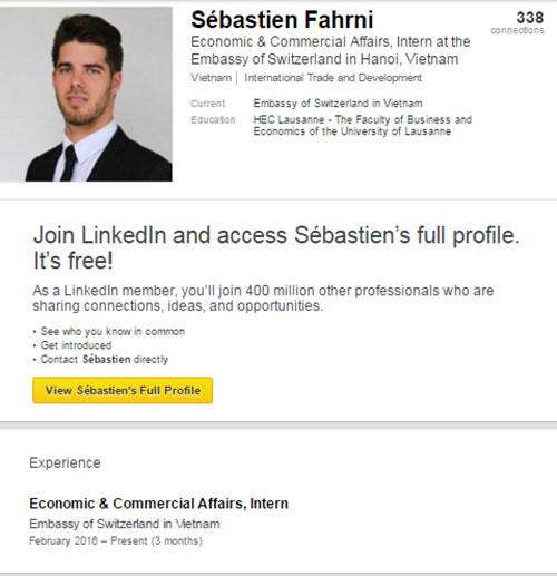 Profile cụ thể của anh chàng trên trang Linkedln.