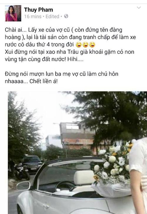 Chiếc xe Đức An dùng đón dâu bị ám chỉ là tài sản tranh chấp làm xe hoa cho Phan Như Thảo, tuy nhiên sau đó đoạn status này đã được xoá đi.
