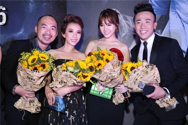Vợ chồng Tiến Luật và Trấn Thành, Hari Won trong sự kiện. Ảnh: Nguyễn Thành