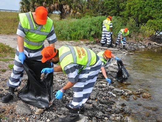 Một số tù nhân vẫn bị xích ở chân khi tham gia dọn dẹp cá chết. Ảnh: New Times