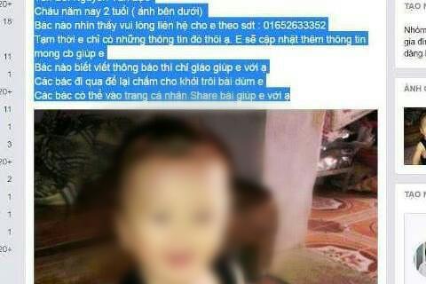 Ảnh cháu bé cùng thông tin gia đình đưa lên Facebook nhờ mọi người tìm kiếm.