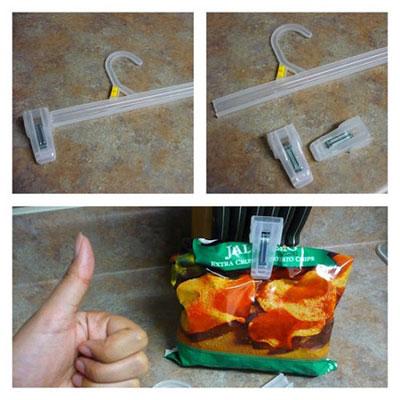 Dùng kẹp quần áo để kẹp túi đồ ăn
