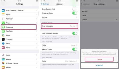 Bạn có thể thay đổi khoảng thời gian lưu trữ các tin nhắn cũ trước khi chúng bị xóa đi
