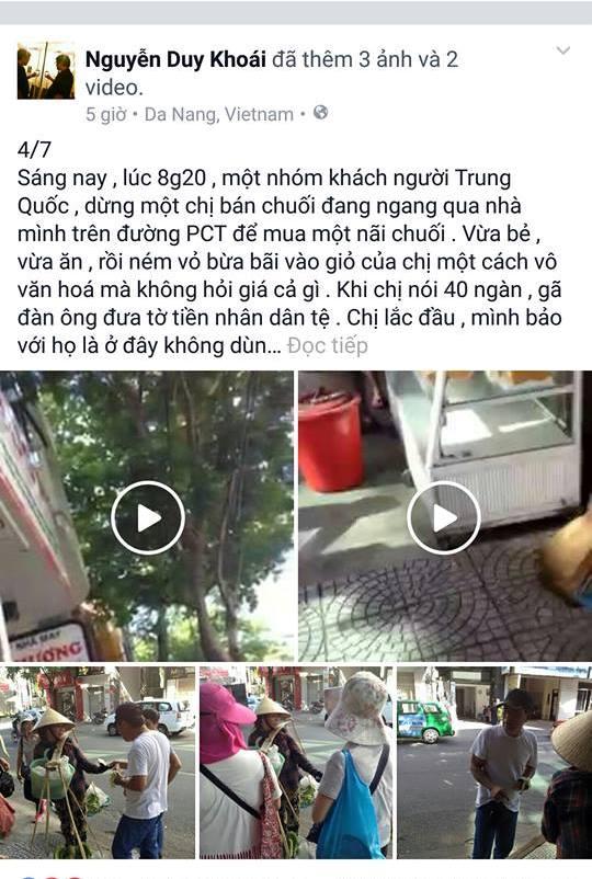 Trên Facebook của nhạc sĩ Nguyễn Duy Khoái đăng hình ảnh và clip phản ánh một nhóm du khách Trung Quốc có hành vi ăn cắp chuối của một chị bán hàng rong. Ảnh chụp lại màn hình