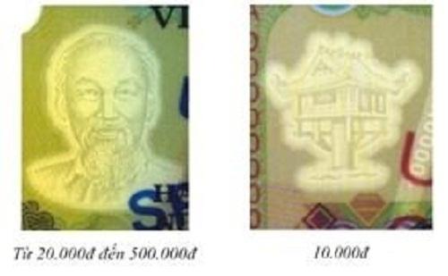 Hình bóng chìm chân dung Bác Hồ trên tờ tiền thật (mệnh giá từ 20.000 - 500.000 đồng)