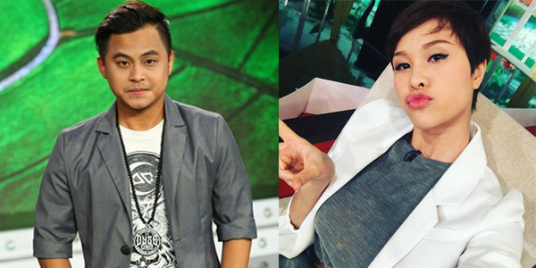 Diễn viên hài La Thành (trái) và MC Phương Mai.