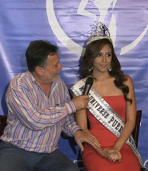 Á hậu 1 Brenda Jimenez rất bất ngờ khi được trao vương miện trong buổi họp báo chiều ngày 17/3.
