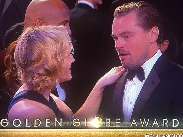 Leonardo DiCaprio không thể tin rằng mình là người được xướng tên với giải Nam diễn viên chính xuất sắc nhất.