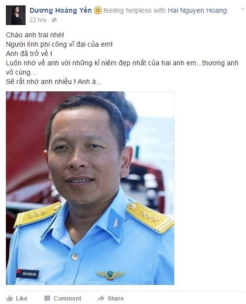 Ca sĩ Dương Hoàng Yến tiếc thương sự ra đi đột ngột của người anh thân thiết. Ảnh chụp màn hình