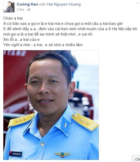 Những lời tạm biệt trên trang cá nhân của phi công Trần Quang Khải. Ảnh chụp màn hình.