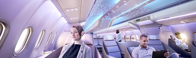 Mô phỏng hệ thống đèn LED trên khoang máy bay Airbus A330neo.