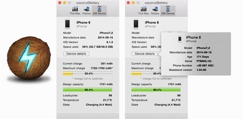 Đối với máy tính dùng Mac OS X, bạn hãy tải về công cụ Coconut Battery để biết thông tin về pin của iPhone