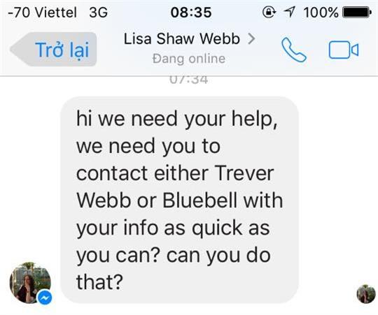 Tin nhắn của gia đình Webb với nhóm cứu hộ: Fb nhóm cứu hộ tình nguyện.