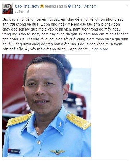 Chia sẻ của ca sĩ Cao Thái Sơn.