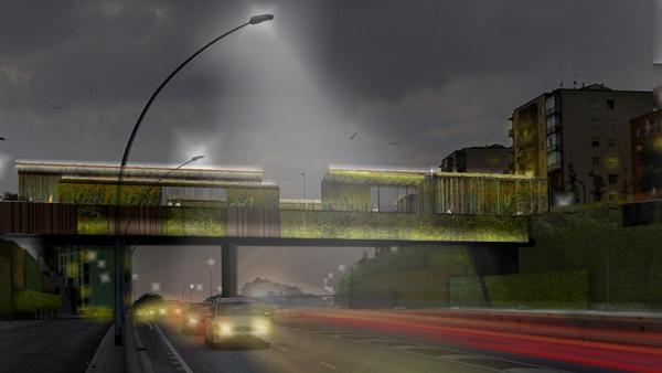 Cây cầu nằm ở Barcelona, Tây Ban Nha, do công ty BCQ Architecture phụ trách cải tạo và hướng đến đưa ý tưởng xanh của kiến trúc sư Heatherwick lên một tầm cao mới. Mục đích của công ty là nâng cấp cây cầu hiện tại bằng những tảng đá phát sáng huỳnh quang để thắp sáng lối đi bộ mà không sử dụng điện năng và bê tông để giảm ô nhiễm môi trường.