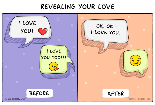 Thể hiện tình yêu bằng tin nhắn tình cảm. Tin nhắn khi yêu còn có cả biểu tượng trái tim lãng mạn, khác hẳn khi đã lấy nhau