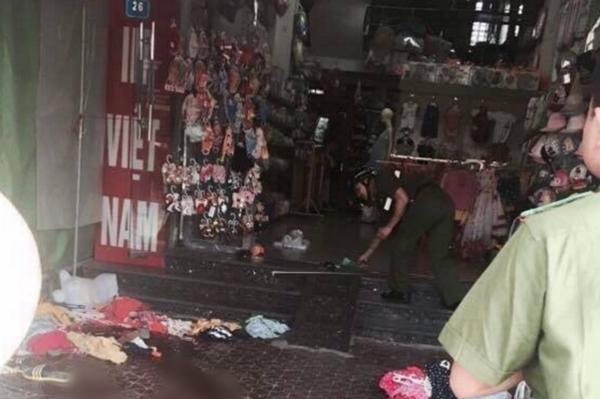 Hiện trường vụ nam thanh niên đâm chết người yêu cũ ở chợ Thanh Bình, Hải Dương. Ảnh: Beat