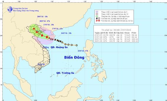 Vị trí và đường đi của cơn bão số 1. Hình ảnh lúc 9h trên trung tâm khí tượng thủy văn trung ương