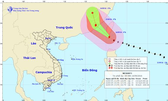 Vị trí và dự báo đường đi của siêu bão Meranti. Nguồn: Trung tâm Dự báo Khí tượng Thủy văn Trung ương.