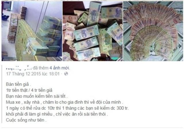 Một lời chào mời mua tiền giả hấp dẫn được đăng công khai trên mạng facebook.