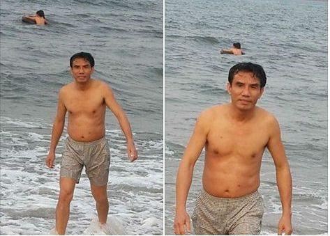 Hình ảnh Chủ tịch TX Cửa Lò Doãn Tiến Dũng xuống tắm biển cùng du khách.