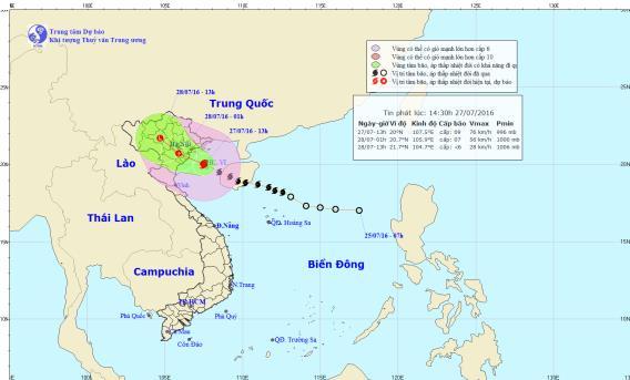 Hướng và đường đi của cơn bão số 1. Hình ảnh lúc 14h30 27/7 trên trung tâm khí tượng thủy văn trung ương