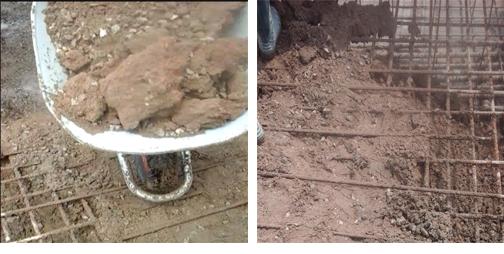 Hình ảnh bê tông lẫn đất khi đổ móng cột điện cao thế tại xã Đại An, huyện Vụ Bản, Nam Định (ảnh cắt từ clip)