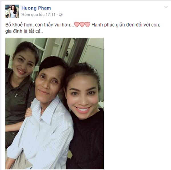 Chia sẻ của Hoa hậu Phạm Hương về tình hình sức khỏe của bố.