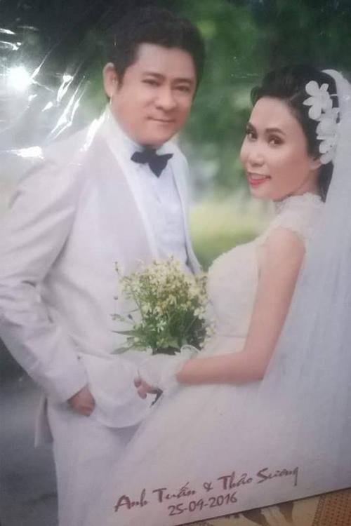Ảnh cưới của Huỳnh Anh Tuấn và người vợ thứ hai - diễn viên Thảo Sương.