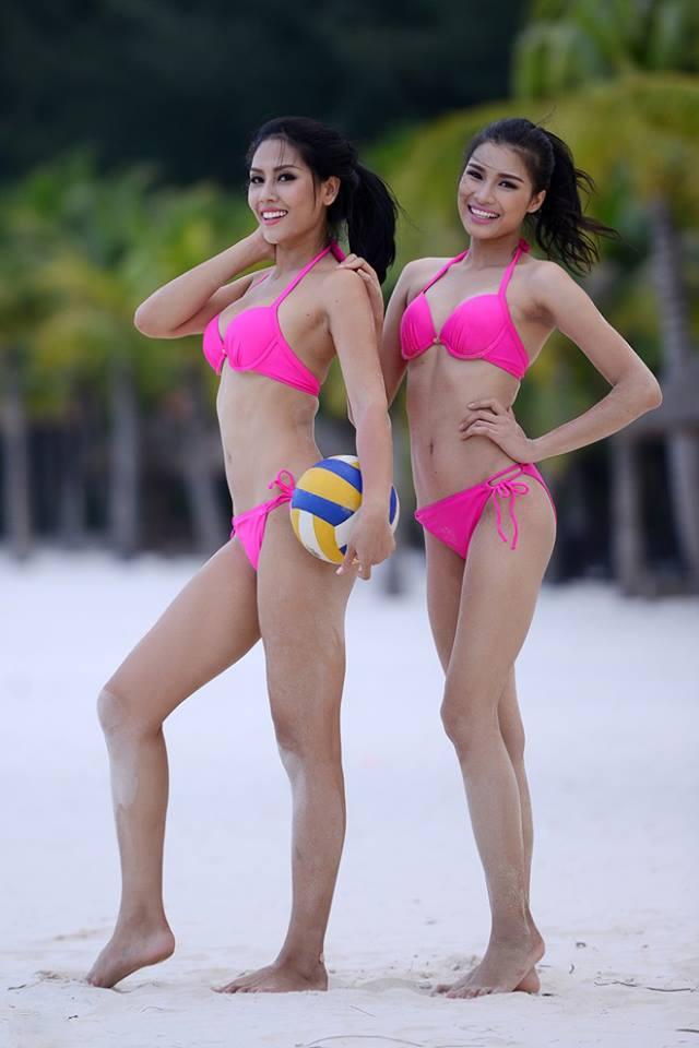 Nguyễn Thị Thành (phải) bên cạnh Hoa hậu Biển Nguyễn Thị Loan