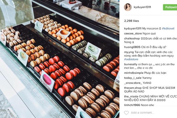 Kỳ Duyên đăng hình trên instagram khoe những món bánh ngọt nổi tiếng ở Pháp.