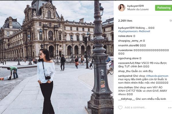 Mới đây nhất, Kỳ Duyên tiếp tục khoe ảnh ở kinh đô Paris với góc chụp tinh tế và chuyên nghiệp.