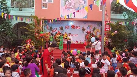 Trường mầm non Họa My (Hà Đông) sôi nổi trong ngày Khai giảng.