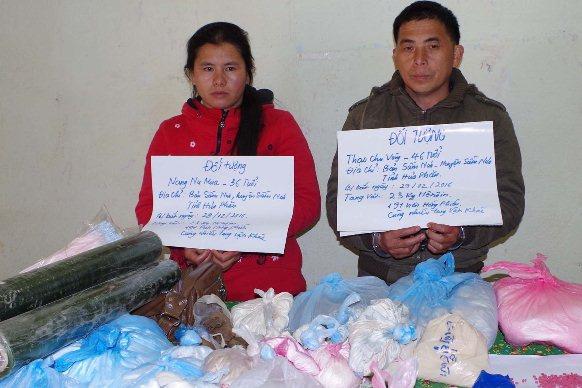 Hai vợ chồng Thạo Chu Vàng và Nàng Nu Mua bị bắt giữ cùng tang vật