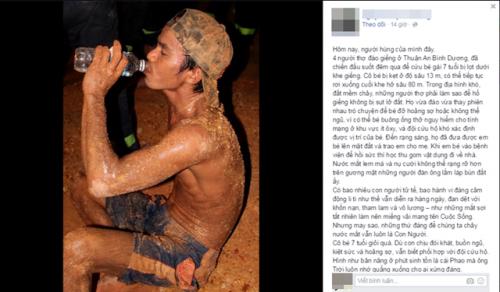 Dân mạng xúc động với bức ảnh người thợ đào giếng suốt đêm cứu bé gái 7 tuổi