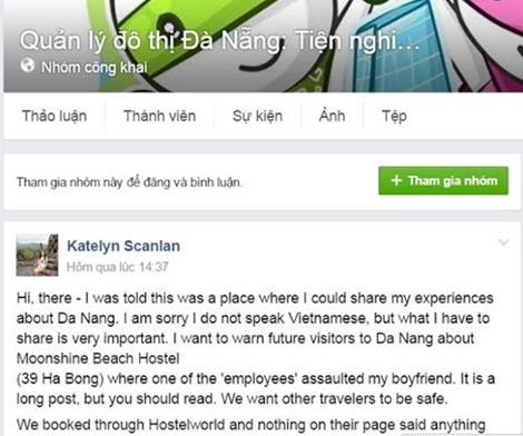 Du khách Katelin Scanlan phản ánh trên trang facebook Quản lý đô thị Đà Nẵng.