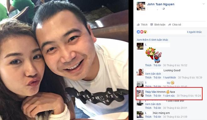 Bạn trai đăng ảnh công khai mối quan hệ với Thúy Vân. Ảnh: FBNV